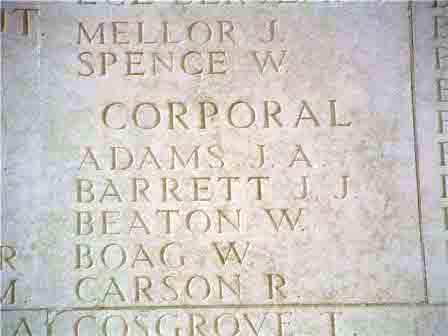 Cpl. Barrett's name on The Thiepval Memorial