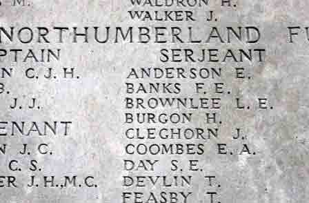Pt Burgon's name on the Memorial