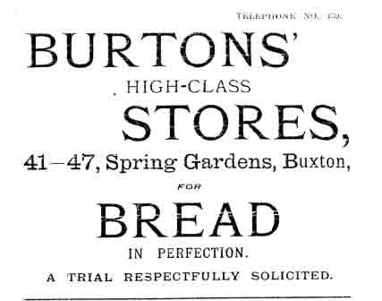 Advert for Burton's from Buxton Directory 1915