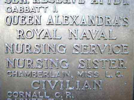 Sister Chamberlain's name on the Chatham Memorial