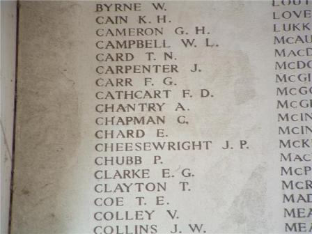 Private Chantry's name on The Menin Gate Memorial