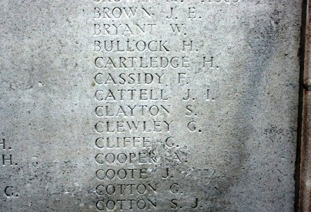 Private S Clayton's name on the Memorial
