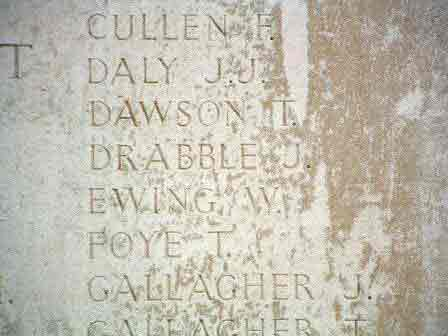 Pt Drabble's name inscribed on the Menin Gate Memorial