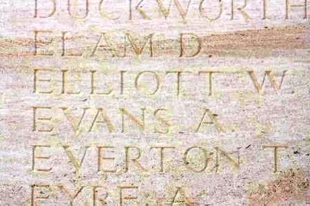 Pt Evans' name on The Loos Memorial