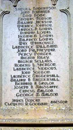 William's name on the Tideswell Memorial