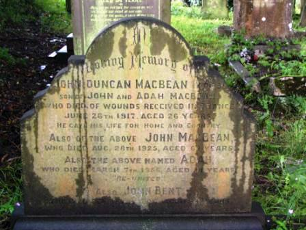 Private John MacBean's grave