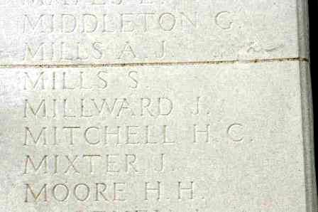 Pt Millawrd's name on The Loos Memorial