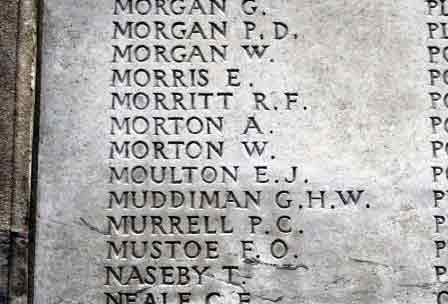 William's name on the Memorial