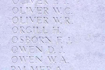 Pt Orgill's name on The Loos Memorial