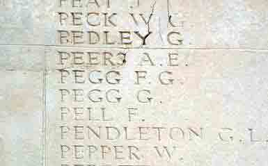 Francis Pegg's name on the Thiepval Memorial