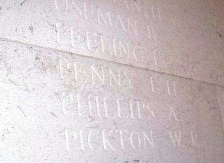 L/Cpl Phillips' name on The Arras Memorial