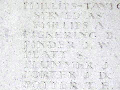 Pt John Pinder's name on the Memorial