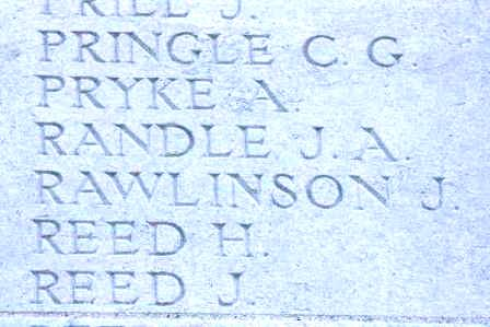 John Rawlinson's name on The Loos Memorial