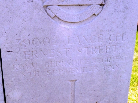 Ernest's grave inscription