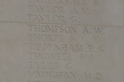 Frank Thorpe's name on the Cambrai Memorial