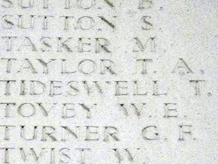 Pt Tideswell's name on The Ploegsteert Memorial