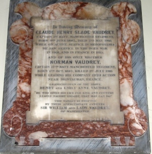 The Vaudrey brothers Memorial in St Werburgh's Church, Derby