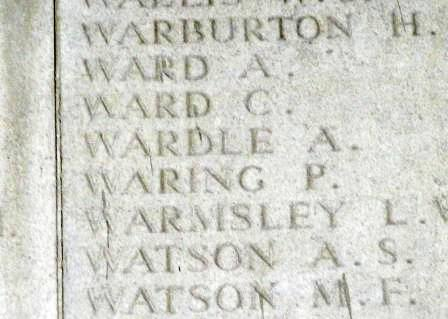 Pt Wardle's name on the Arras Memorial