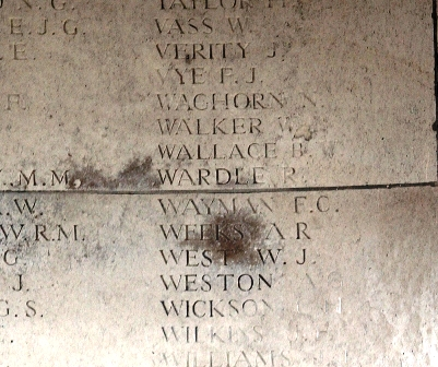 Pt. Wardle's name on the Memorial