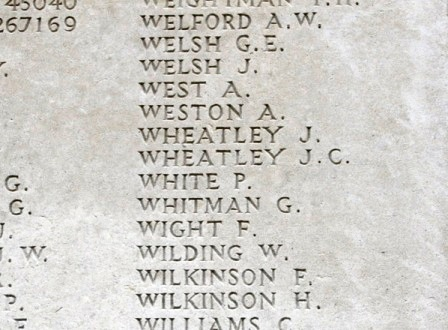 John's name on the Memorial