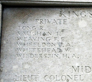 Jasper's name on the Memorial