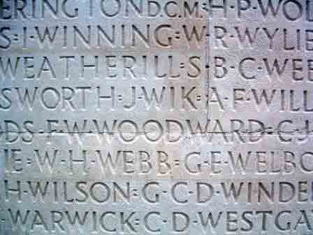 Charles' name on the Vimy Memorial