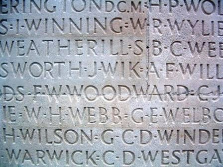 Cpl Woodward's name on the Vimy Memorial